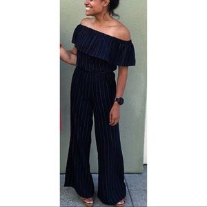 NWT Forever21 Navy Stripe Off Shoulder Jumpsuit